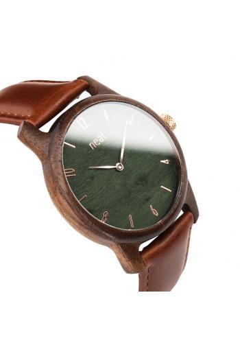 Pánske drevené hodinky s koženým remienkom v hnedo-sivej farbe