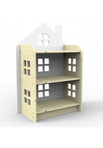 Sivá drevená polica v tvare domu