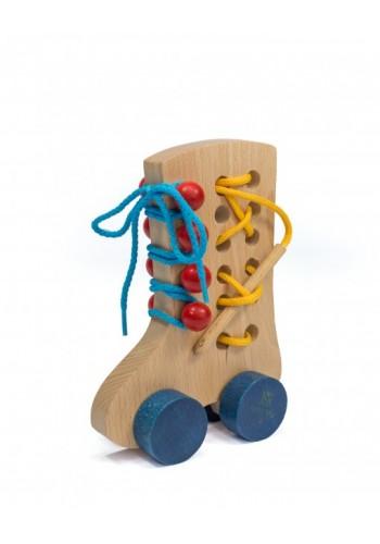 Šnurovacia topánka pre deti z dreva