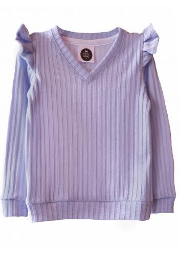 Sivý sveter s odhalenými ramenami s volánmi pre dievčatá