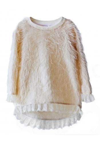 Ružový nadýchaný sveter s čipkou pre dievčatá