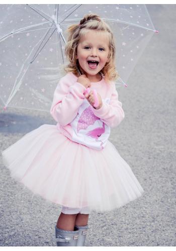 Dievčenský nadýchaný sveter s čipkou v krémovej farbe