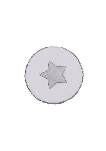 Sivá okrúhla podložka na hranie s volánom