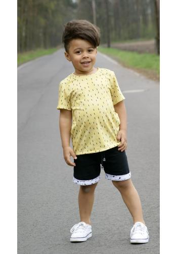 Tyrkysové bavlnené chlapčenské šortky so šnúrkou