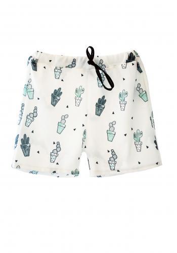Krémové šortky s potlačou geomerického vzoru pre chlapcov