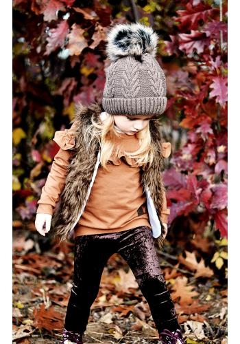 Dievčenská bunda na zips oteplená vo fialovej farbe s potlačou