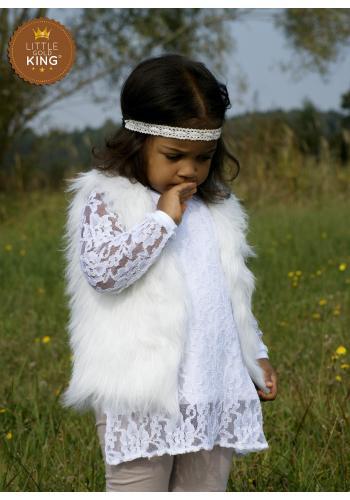 Dievčenská obojstranná vesta z EKO kože a kožušiny v striebornej farbe