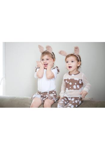 Dievčenské bavlnené kraťasy v tyrkysovej farbe s volánikmi