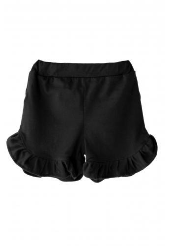 Dievčenské bavlnené šortky v čiernej farbe s ozdobným volánikom