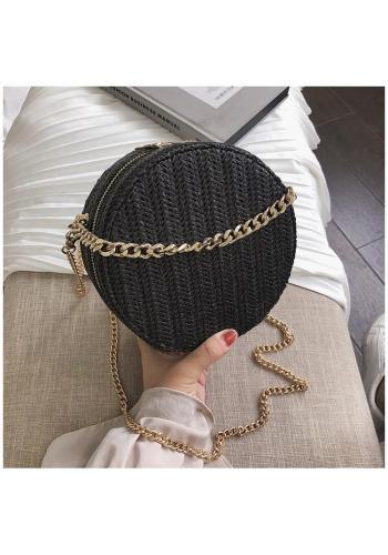 Dámska okrúhla kabelka s retiazkou v krémovej farbe
