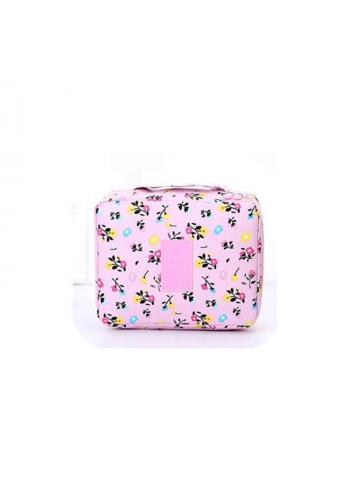 Kozmetická taška ružovej farby s potlačou