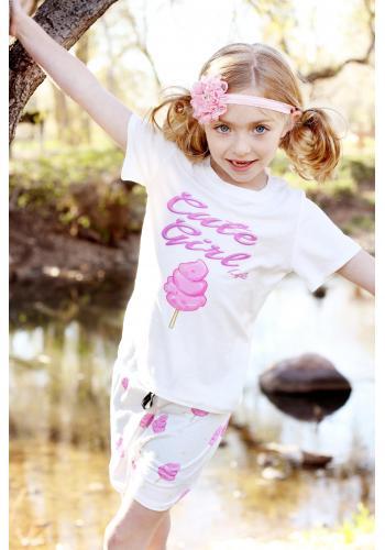 Béžové šortky s ozdobným volánikom pre dievčatá