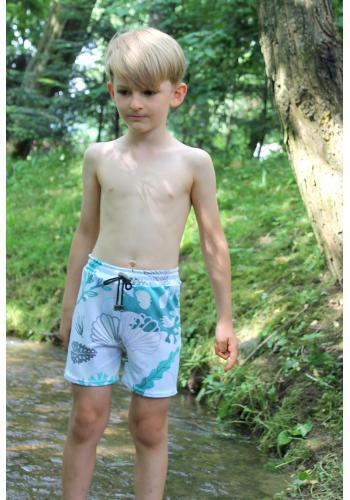 Chlapčenské plavky vo svetlo modrej farbe s potlačou labutí