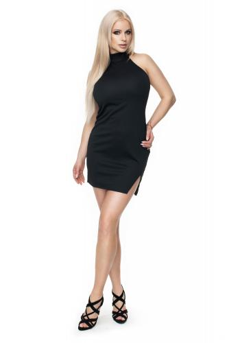 Čierne mini šaty s viazaním okolo krku a holý chrbát pre dámy