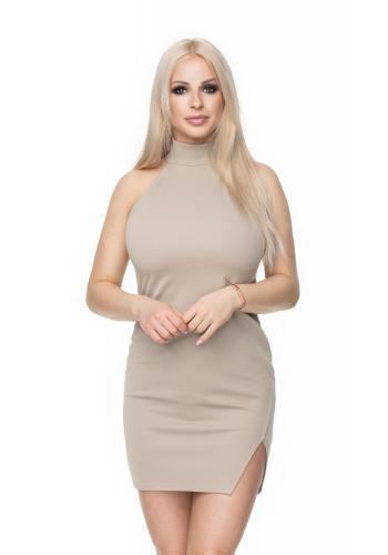 Štýlové mini šaty s viazaním okolo krku a holý chrbát v tmavozelenej farbe pre dámy