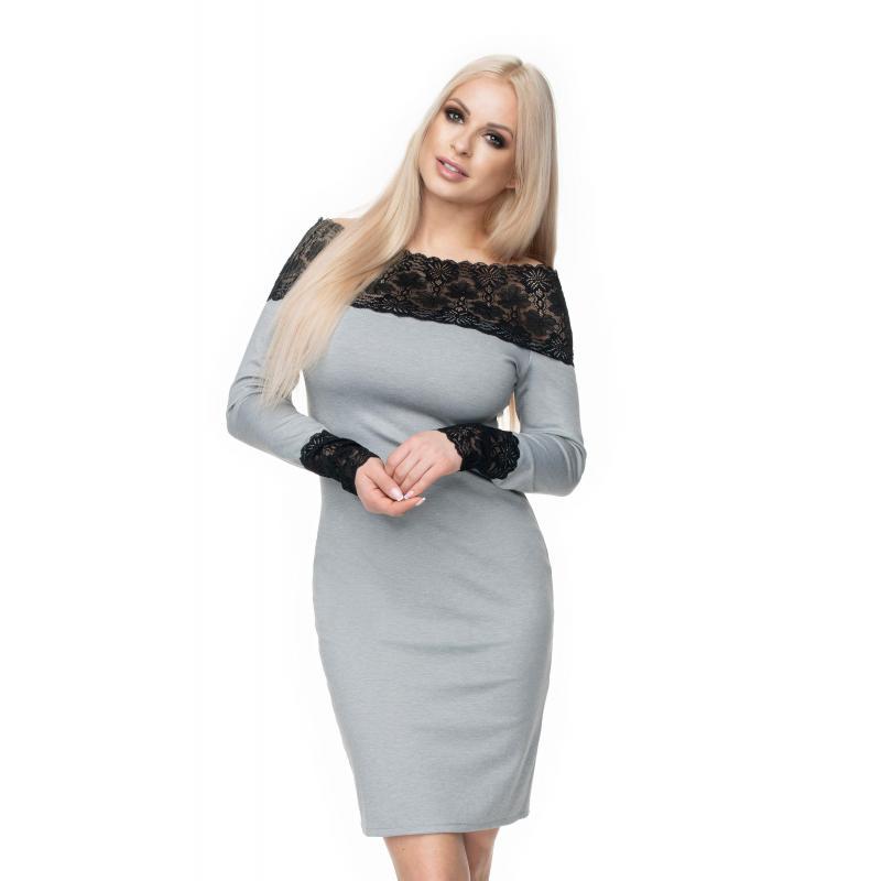 a38f80fb0 Štýlové vypasované šaty s čipkou pre dámy v sivej farbe - premamku.sk