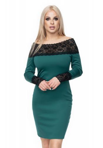 4a7d85470230 Štýlové vypasované šaty s čipkou pre dámy v sivej farbe ...