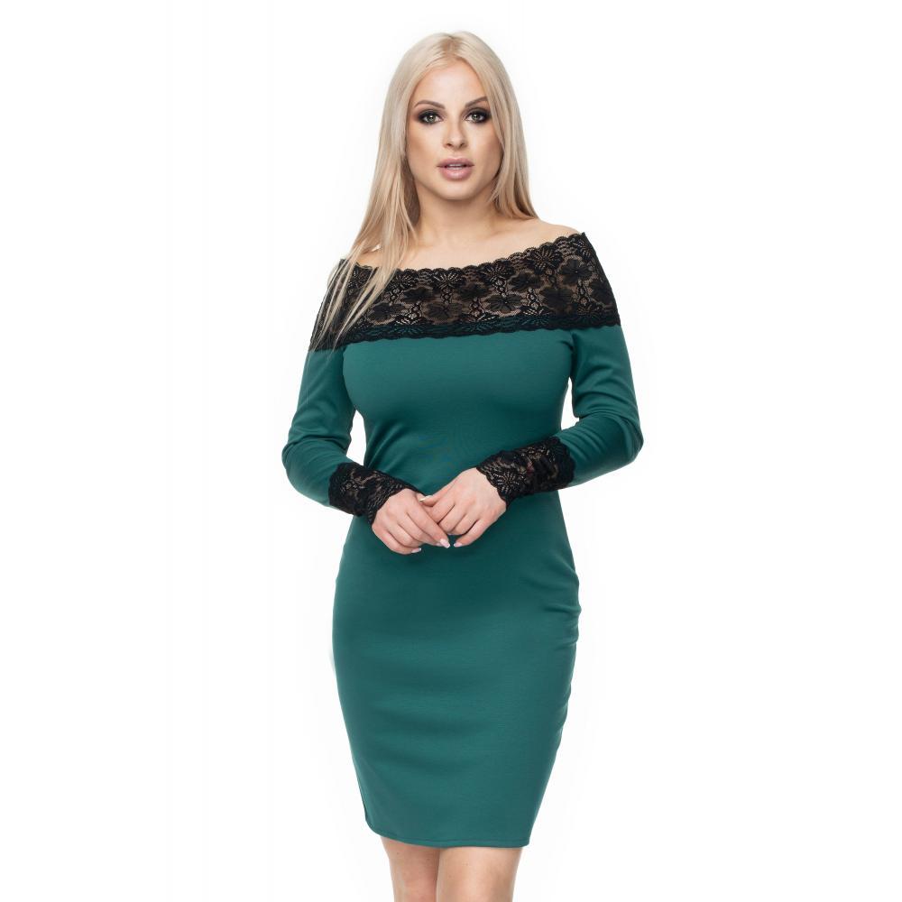 497fa5a7e Štýlové vypasované šaty s čipkou pre dámy v sivej farbe. Loading zoom