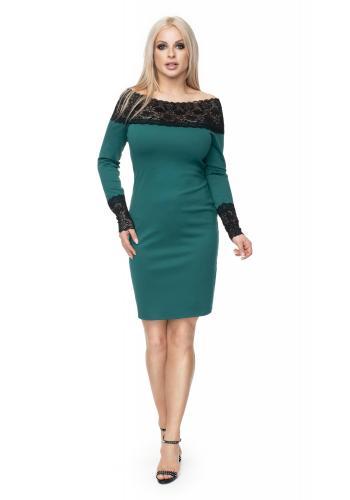 Štýlové vypasované šaty s čipkou pre dámy v sivej farbe