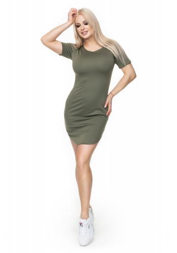 d23f43a1ced4 Dámske mini šaty s krátkym rukávom v sivej farbe ...