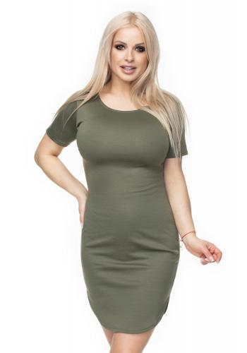 241b01d4a365 ... Dámske mini šaty s krátkym rukávom v sivej farbe