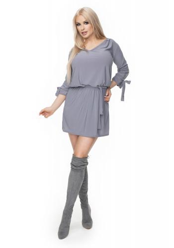 4727eba16b8a ... Štýlové mini šaty s viazaním v páse pre dámy v čiernej farbe