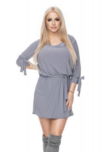 b5036ded6 Štýlové mini šaty s viazaním v páse pre dámy v čiernej farbe ...