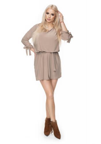d14f944ab1af ... Dámske mini šaty s viazaním v páse v sivej farbe