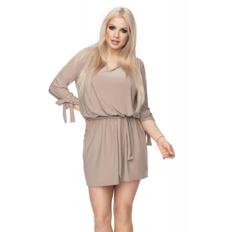 eecaf3436 Cappuccinové mini šaty s viazaním v páse pre dámy - premamku.sk
