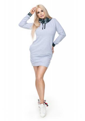2e4cb7830722 Štýlové šaty na spôsob dlhej mikiny v čiernej farbe s golierom pre dámy ...