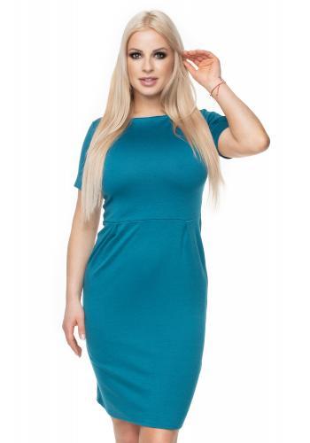de8df42d4a8d Ružovo-oranžové šaty klasického strihu s krátkym rukávom pre dámy ...