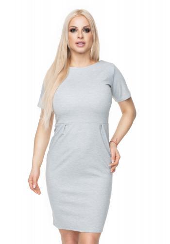 68f064e48cf7 Štýlové šaty klasického strihu s krátkym rukávom v modrozelenej farbe pre  dámy ...