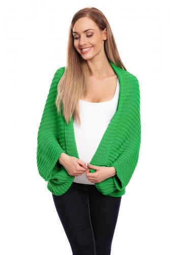 Štýlový kardigán bez zapínania v zelenej farbe pre dámy
