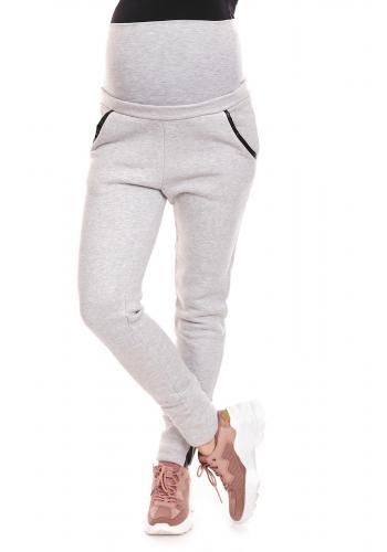 Tehotenské nohavice s vreckami so zvýšeným pásom v tmavosivej farbe