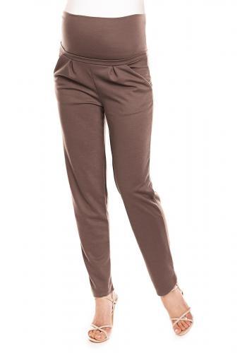 Svetlosivé nohavice s vreckami so zvýšeným pásom pre tehotné