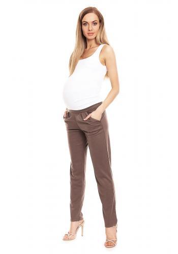 Tehotenské nohavice cigaretového strihu v cappuccinovej farbe so zvýšeným pásom