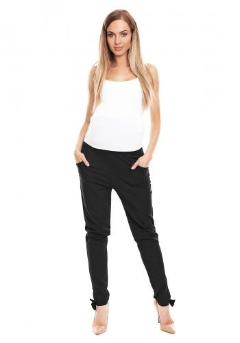 Tehotenské nohavice cigaretového strihu so zvýšeným pásom vo svetlosivej farbe
