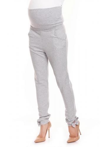 Tehotenské nohavice so zvýšeným pásom a mašľou v kaki farbe
