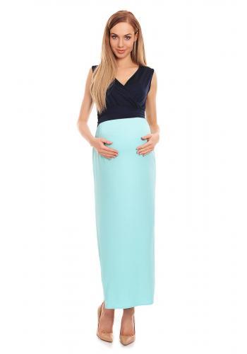 Tmavomodro-mätové MAXI šaty v pre tehotné a dojčiace mamičky