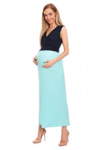 Tehotenské a dojčiace MAXI šaty v bordovo-marhuľovej farbe