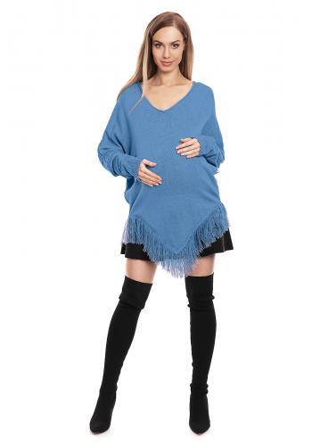 Tehotenské pončo s rukávmi v béžovej farbe so strapcami