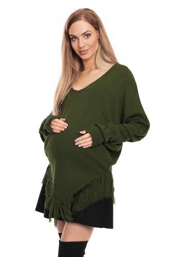 Svetlomodré pončo s rukávmi pre tehotné so strapcami