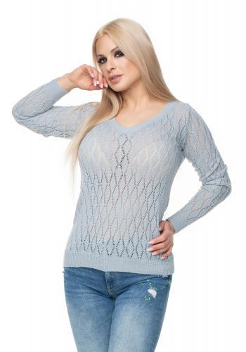 64588ea73837 Fialový sveter s jemnou väzbou pre dámy ...