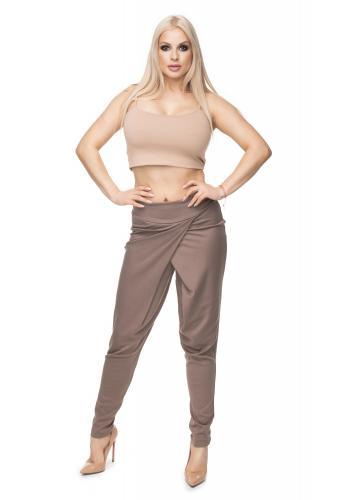 Cappuccinové nohavice s prekrytím pre dámy
