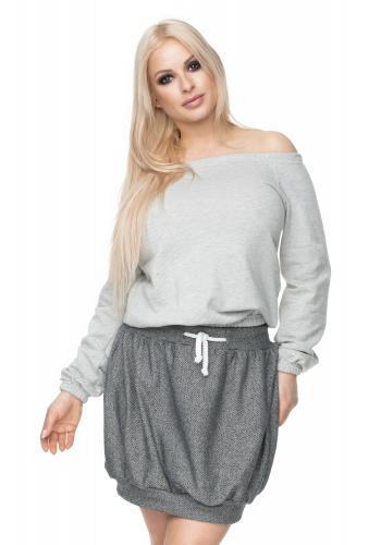 Tmavosivé melánžové nohavice s ekologickými koženými prvkami pre dámy