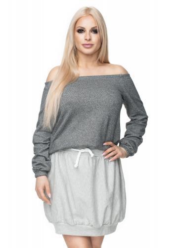Svetlosivá melanžová sukňa mini pre dámy