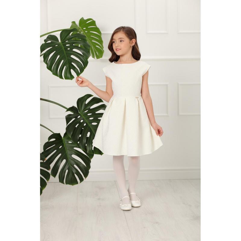 a1e6d259ea3d Dievčenské elegantné šaty s krátkym rukávom v svetlozlatej farbe ecru.  Loading zoom. Predchádzajúci