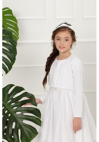Dievčenské elegantné bolerko so striebornou niťou v bielej farbe