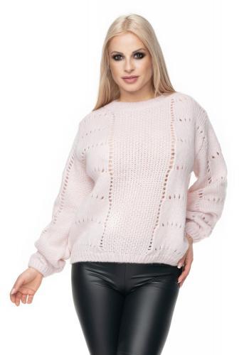 98ac38d29c01 ... Dámsky mäkký sveter v krémovej farbe s jemnou väzbou