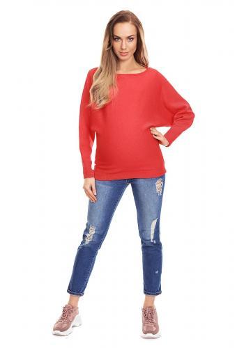 Tehotenský predlžený sveter s vrkočom vpredu v bordovej farbe